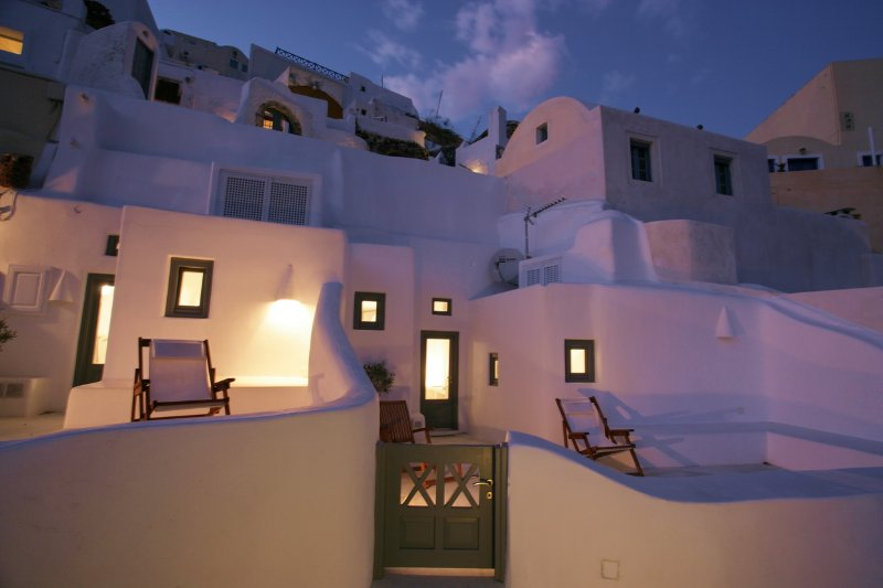 Oia White and Oia Blue terraces side by side