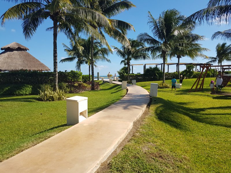 Walkway towards pool and beach
