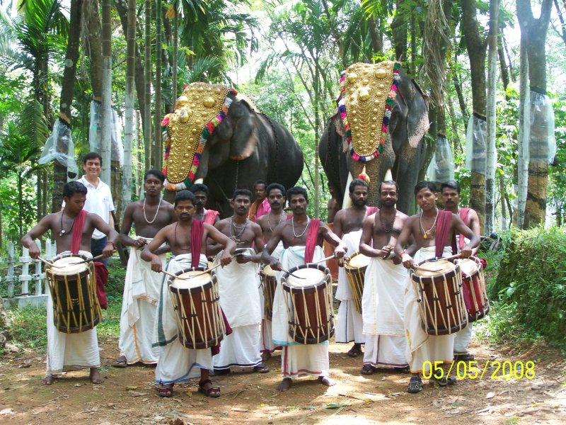 Traditional Kerala Drummers for a sit down lunch of 100 pax