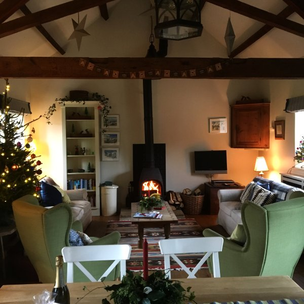Sitting by the woodburner at Christmas
