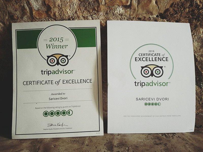 certificat Tripadvisor d'excellence pour notre partenaire alimentaire - Šarićevi dvori