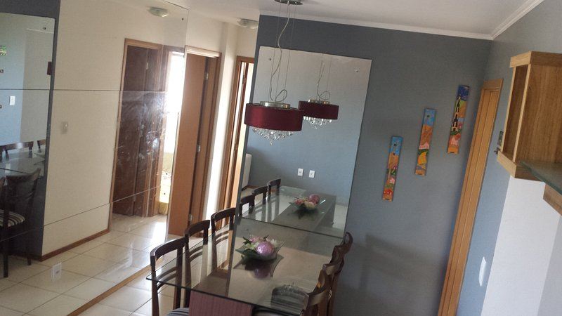 well ventilated dining room, two bedrooms with air conditioning and double bed.