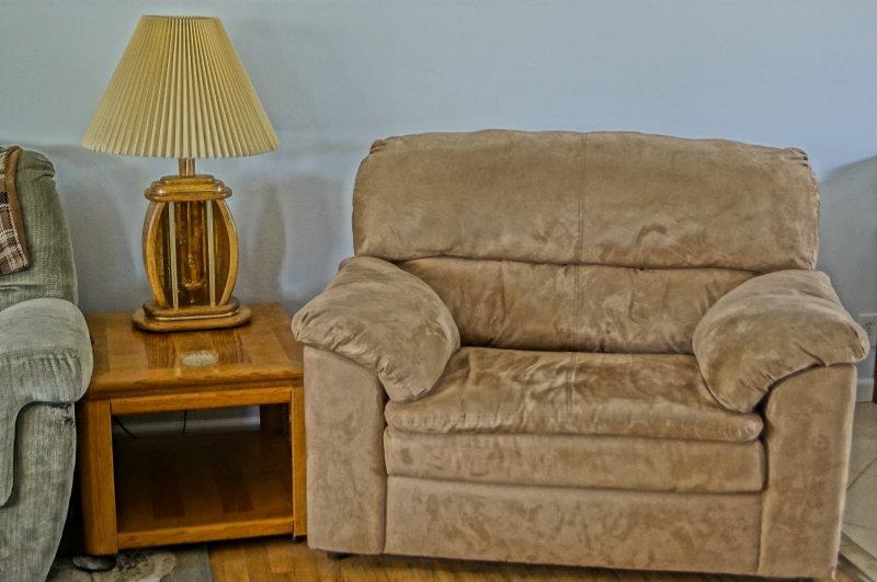 Sur une chaise confortable de taille dans le salon