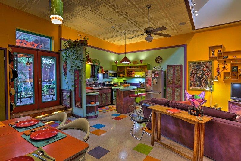 For lasting memories, escape to 'Artist's Retro Retreat,' a unique 2-bedroom, 1.5-bathroom vacation rental apartment in San Antonio!