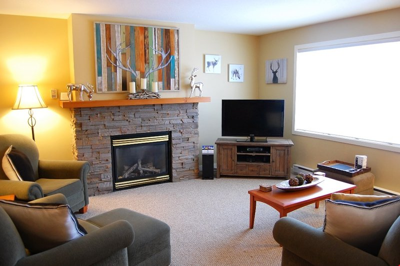 The spacious living area is cozy and brightly lit.