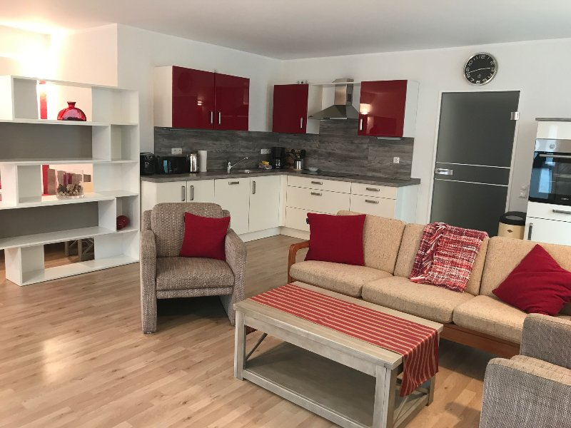 Studio with living area and kitchen