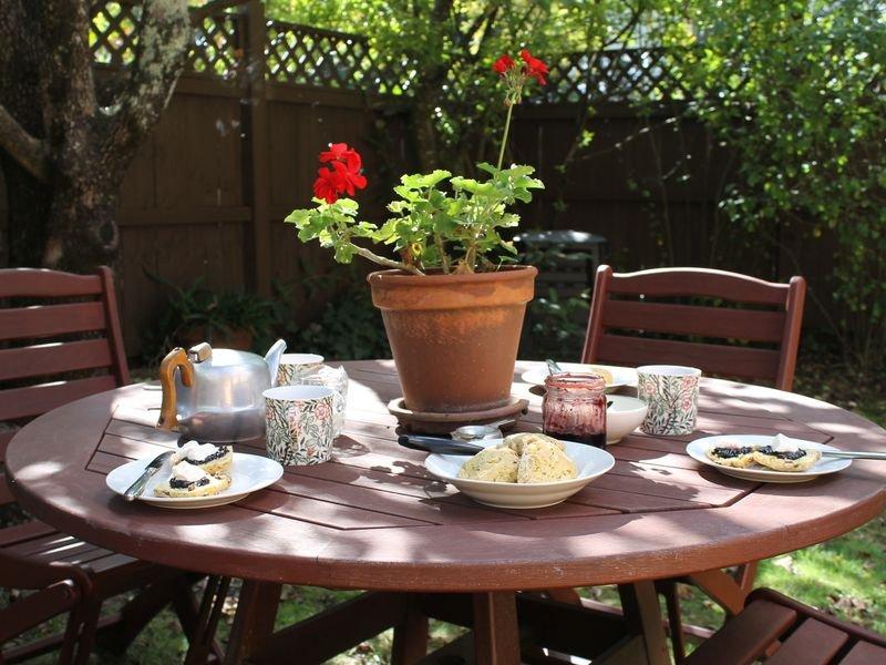 Back garden, private outdoor living area.