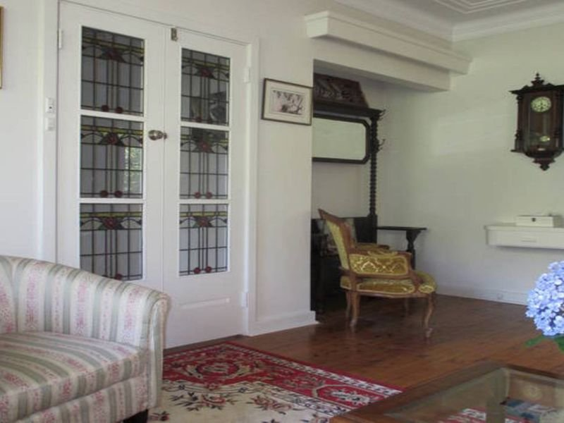 Living room entry / Stained glass doors