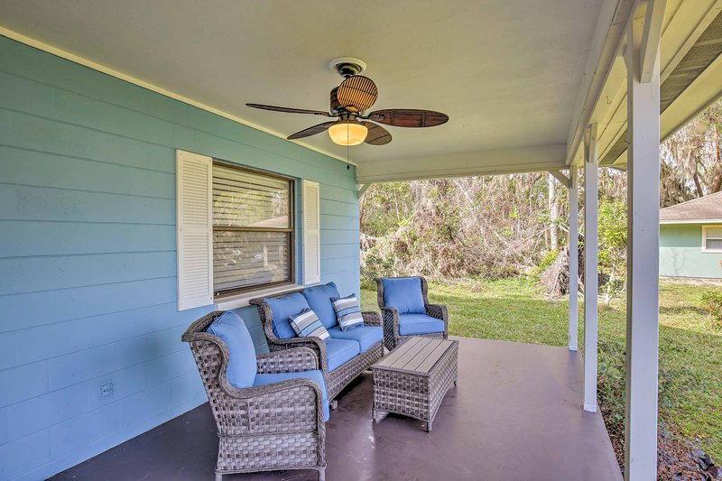 Sip a refreshing beverage out on the covered furnished porch.