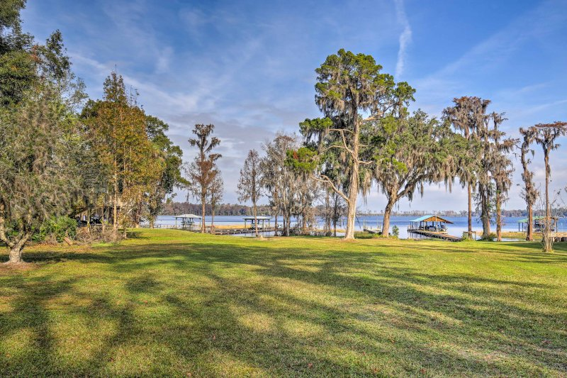 The boat launch is just a short drive from this lakeside home.