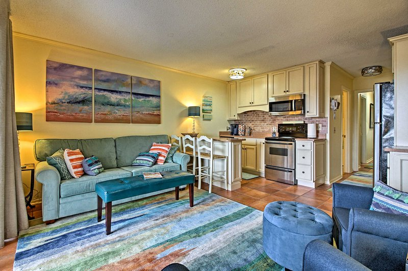 The 1-bedroom, 1-bathroom condo for 7 is just a short walk from the beach!