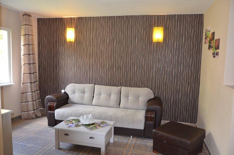 living room with big sofa.