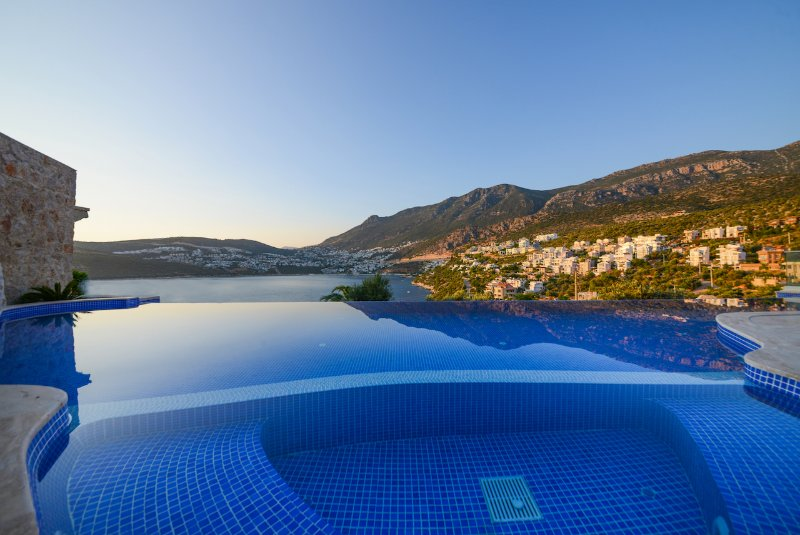 Unobstructed views from Pool across Kalkan Town