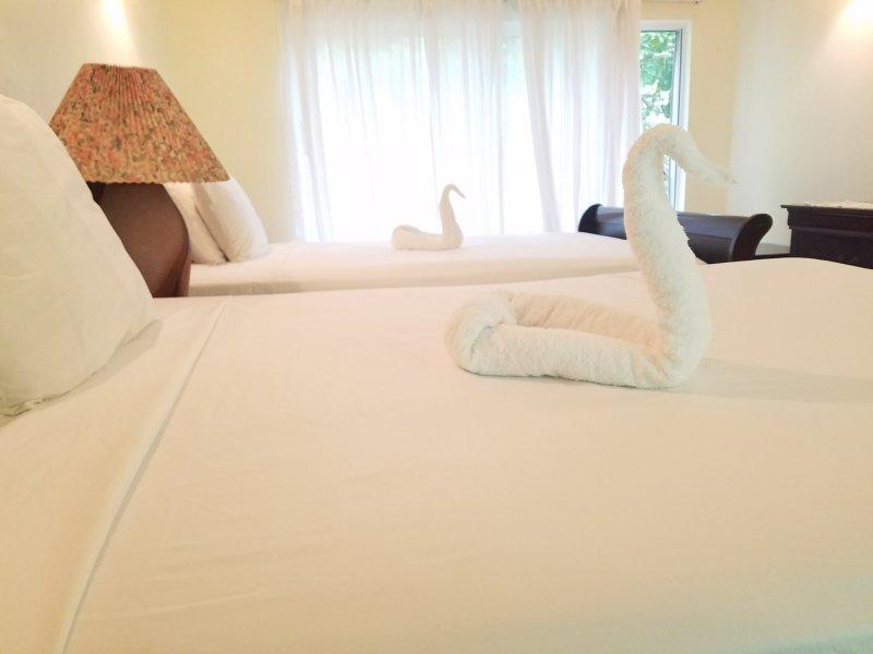 Ontspan na een lange dag in uw ruime slaapkamer met airconditioning met twee queen-size bedden
