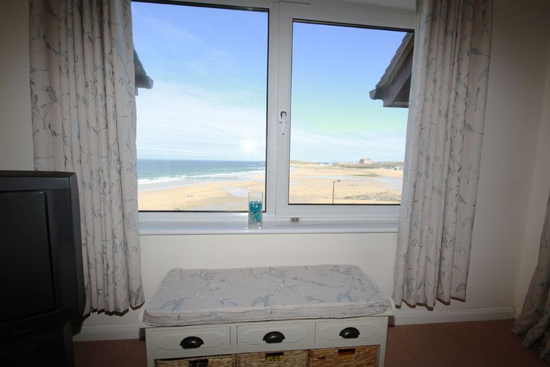 view of Fistral and the headland from the lounge