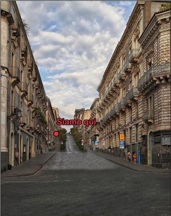 Via A. Di Sangiuliano vista desde Via Etna. Posición casa