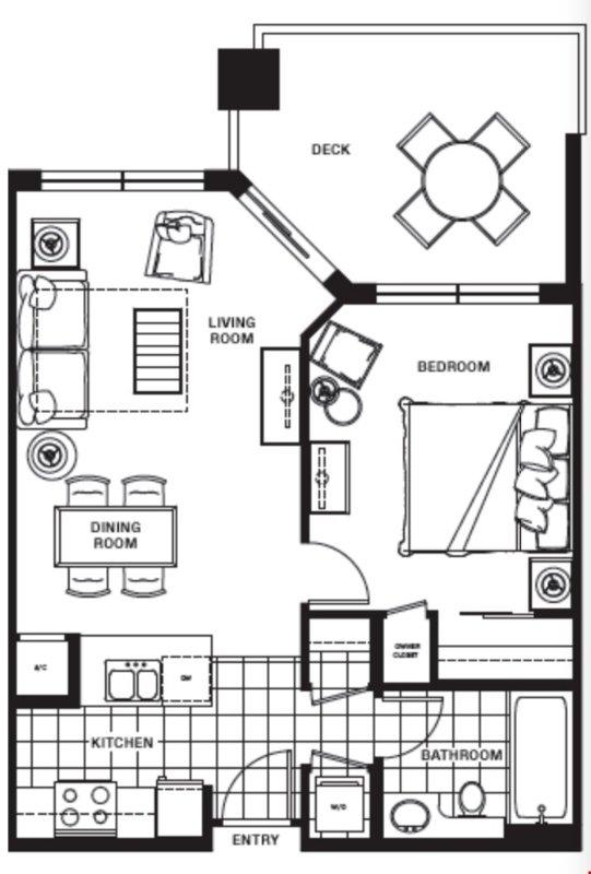 La planta del condominio de 1 dormitorio