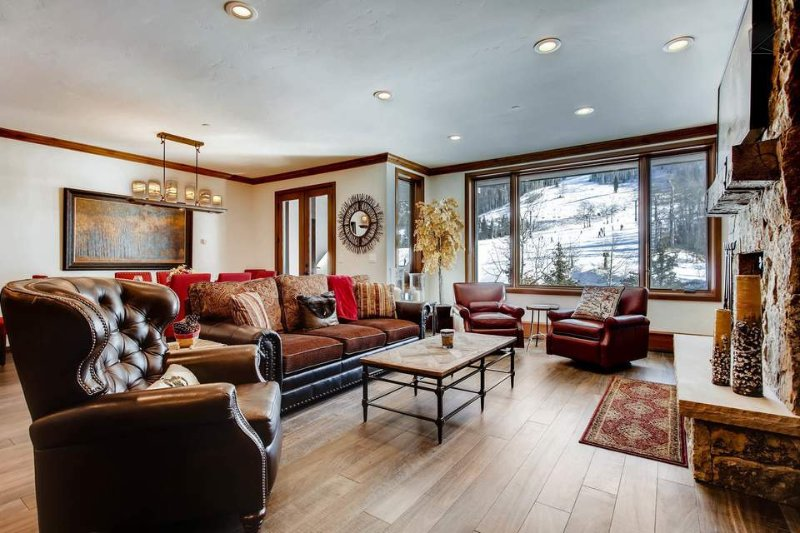 Watch the skiers come down the slopes from the main living area.