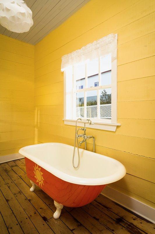 Profitez d'un bain dans notre authentique baignoire en fonte antique