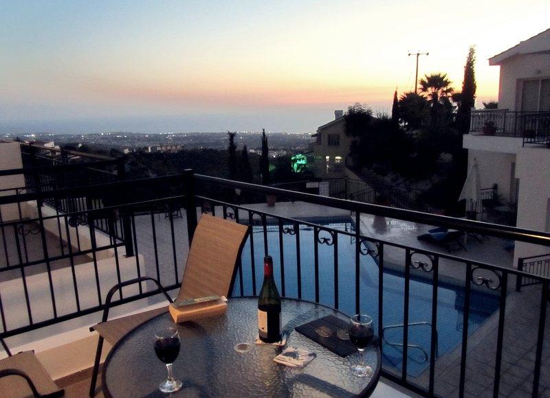 Puesta de sol desde su balcón