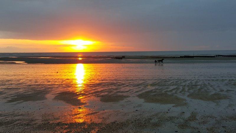 Coucher de soleil à Hauteville sur mer.