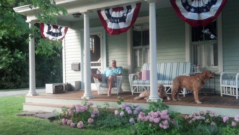 Relaxing on the Farmhouse porch
