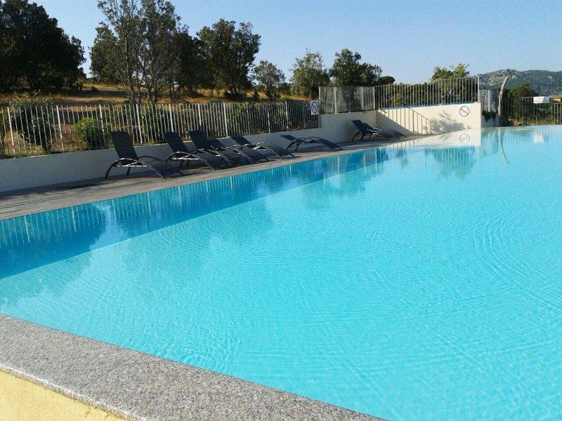 100 metros cuadrados magnífica piscina rodeada de una terraza de madera con tumbonas y duchas