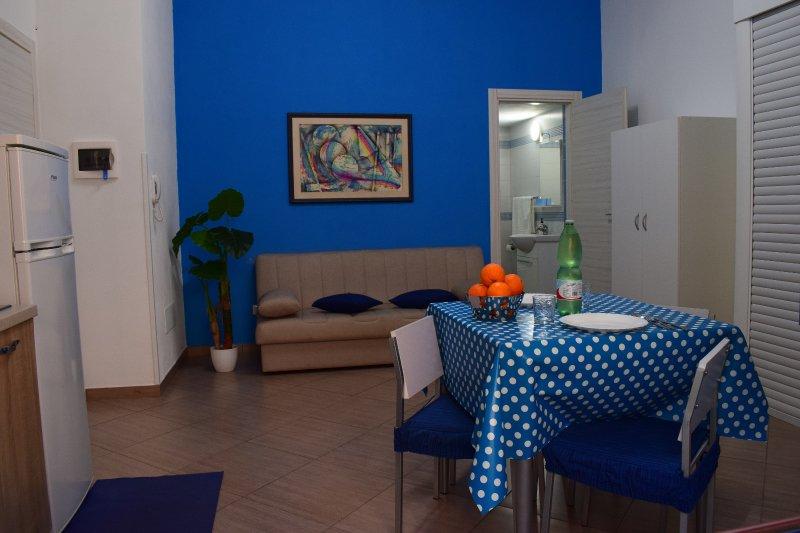 Ambiente elegante e moderno il monolocale azzurro è l'ideale per una coppia o 3