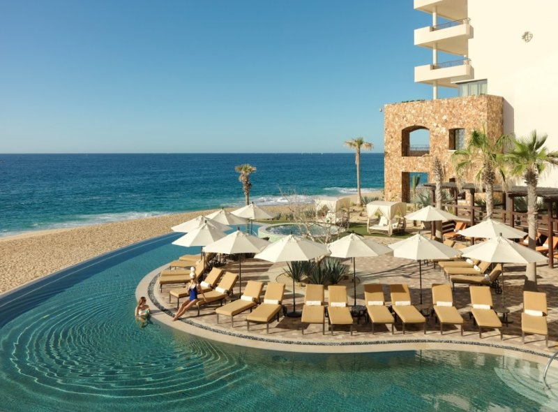 Picture of adult only infinity pool overlooking the Pacific Ocean.