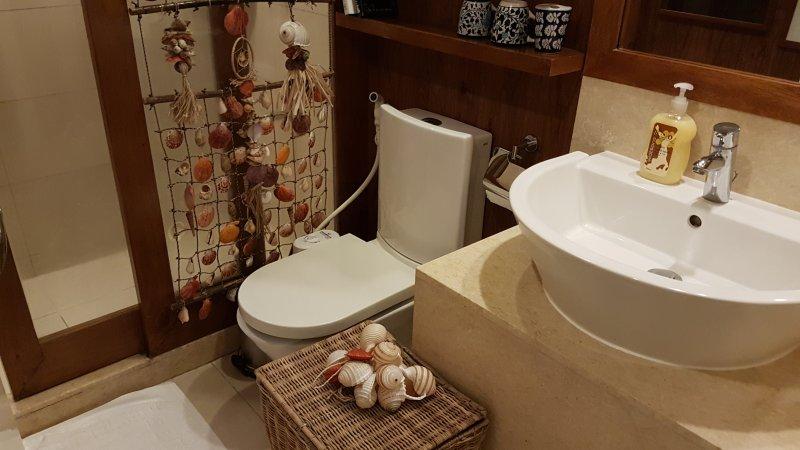 WC com bidé montado na parede e bidé operados knob.