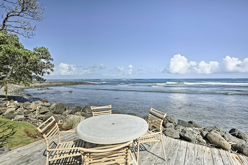 Sip your morning coffee from the outdoor table as you watch the sun rise over the ocean.