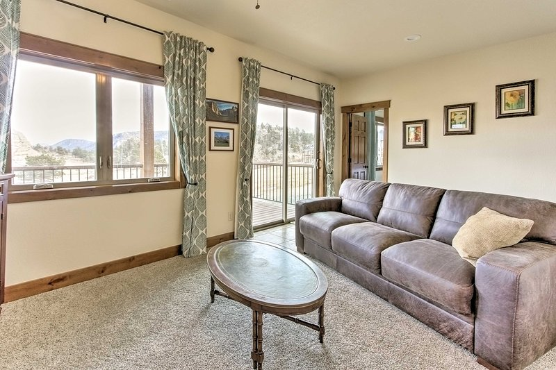 Easily access the lower-level deck from the downstairs living room.