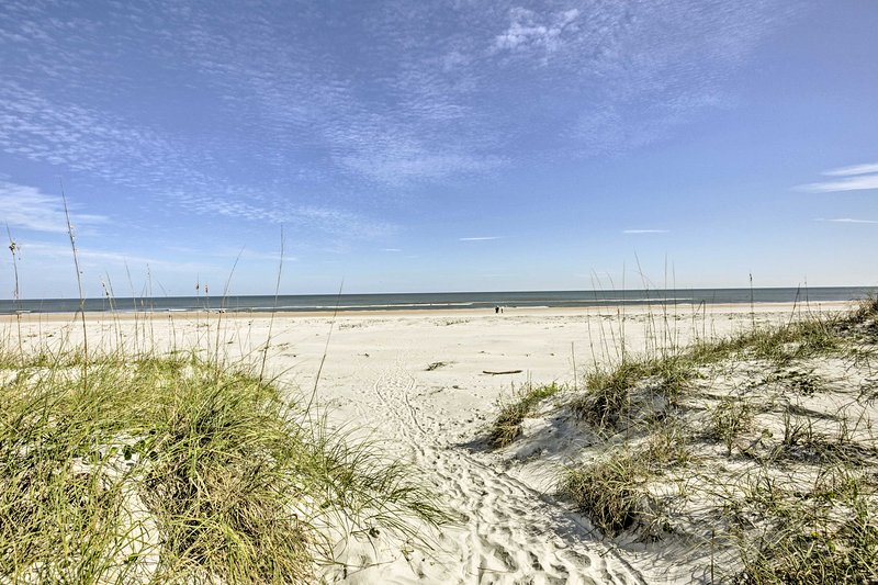 Just steps away are the pristine white sand shorelines of St. Augustine Beach!