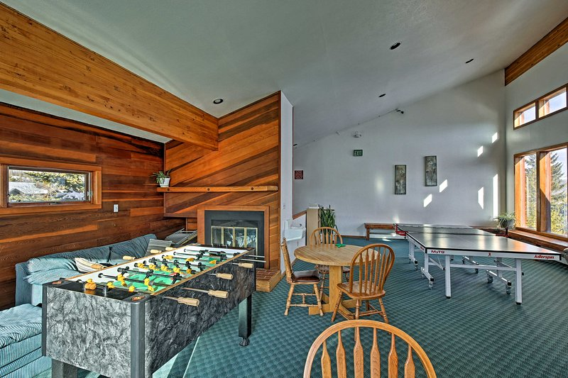 Turn on the fire in the clubhouse and play Foosball or ping pong!
