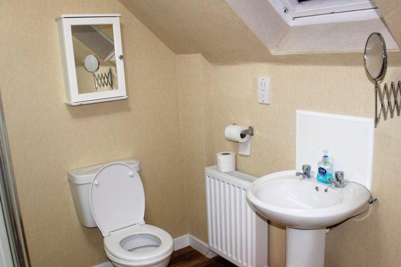 Bathroom, bath, separate shower sink and toilet.  Heated towel rail.