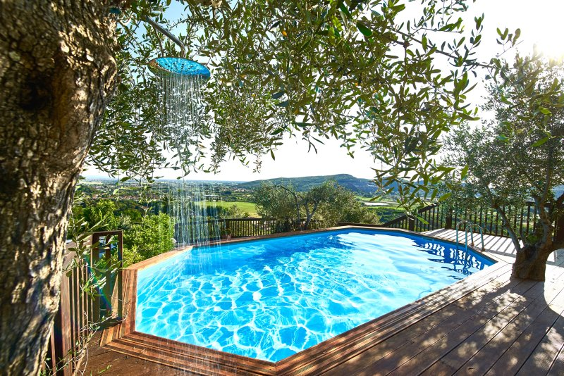 Unique - olive tree shower and salt water swimming pool! Fantastic views from a great space.