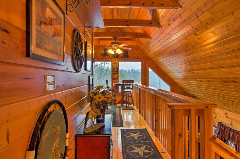 The property is a true all-wood construction for an authentically rustic feel.