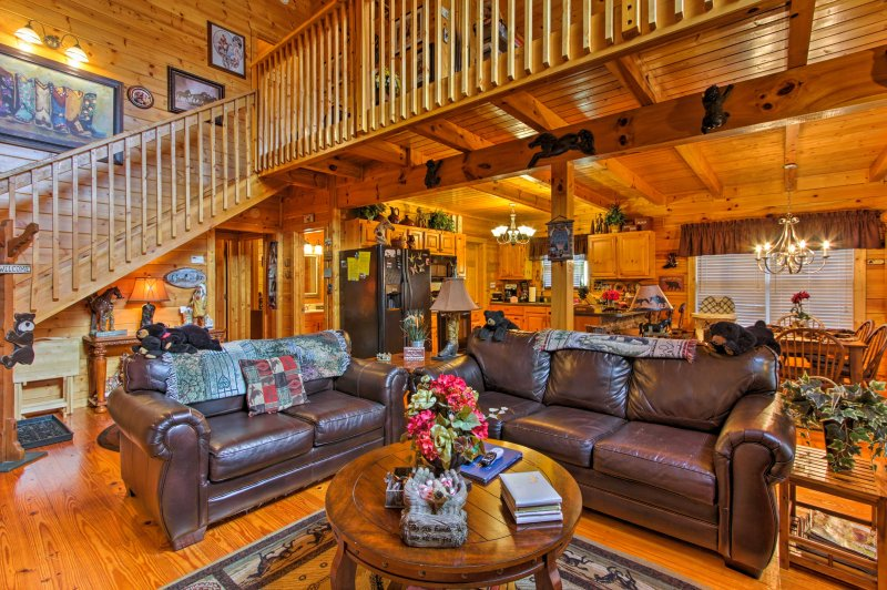 Boasting 2,000 square-feet of living space, the cabin comfortable accommodates up to 8 guests!
