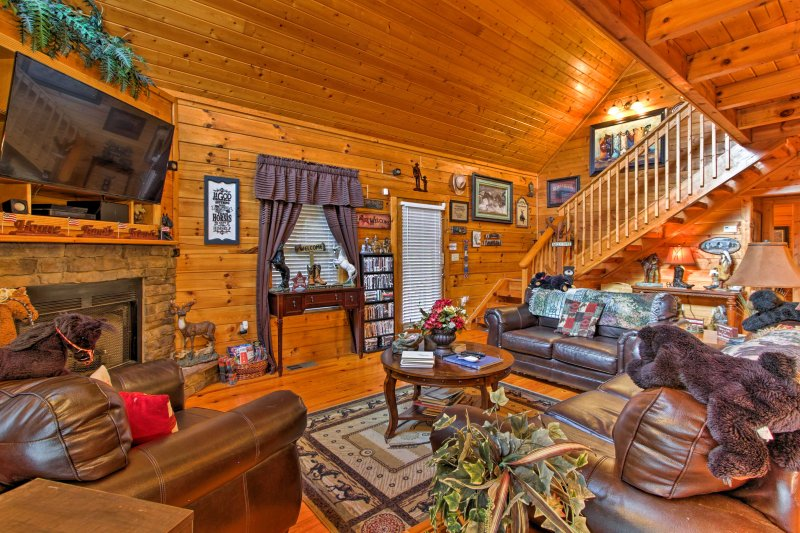 The gas fireplace will keep the cabin cozy and warm!