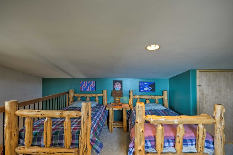 The lofted kid's room offers 2 twin beds.