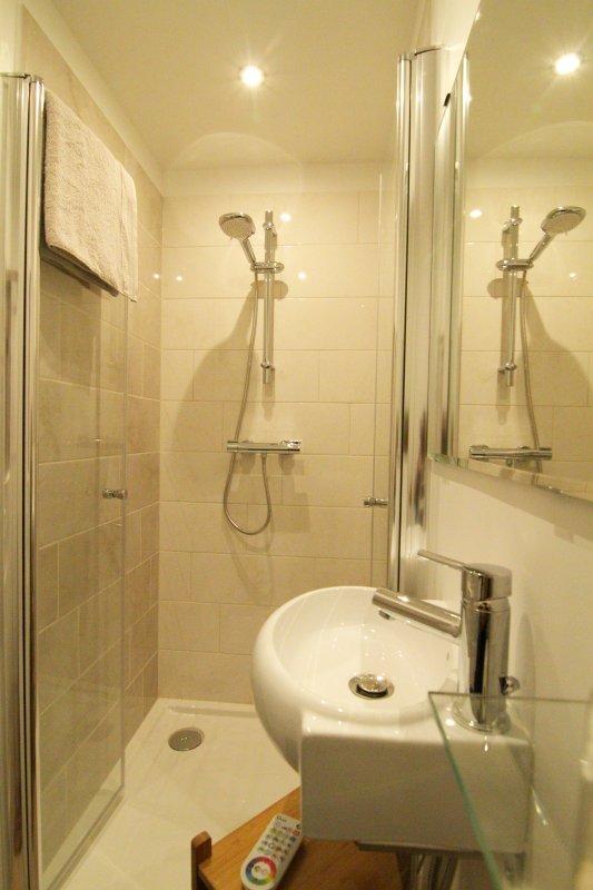 baño privado con ducha de gran tamaño 90 x 90 terapia de luz y WC