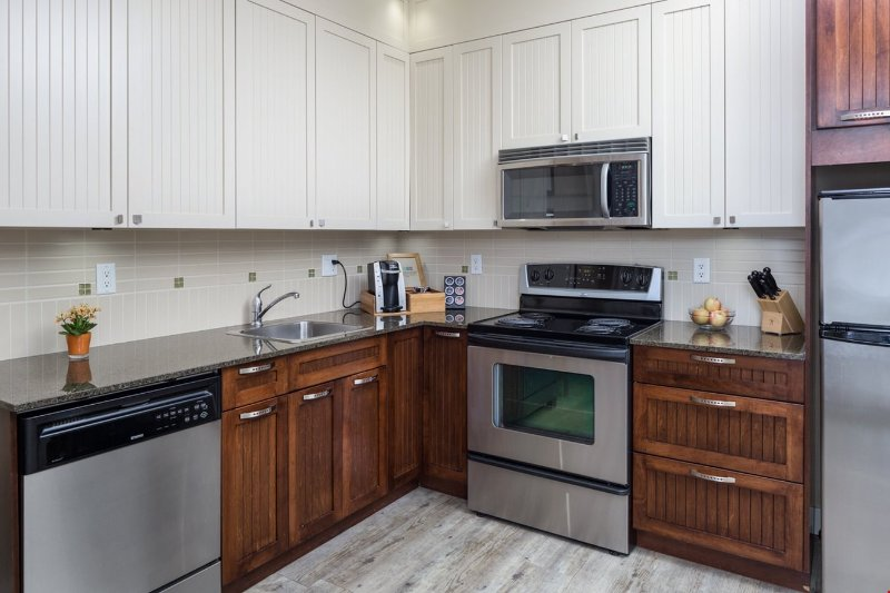 This gorgeous condo features a well-equipped, spacious kitchen.