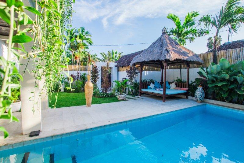 Grande villa avec piscine cristalline et entourée de plantes vertes