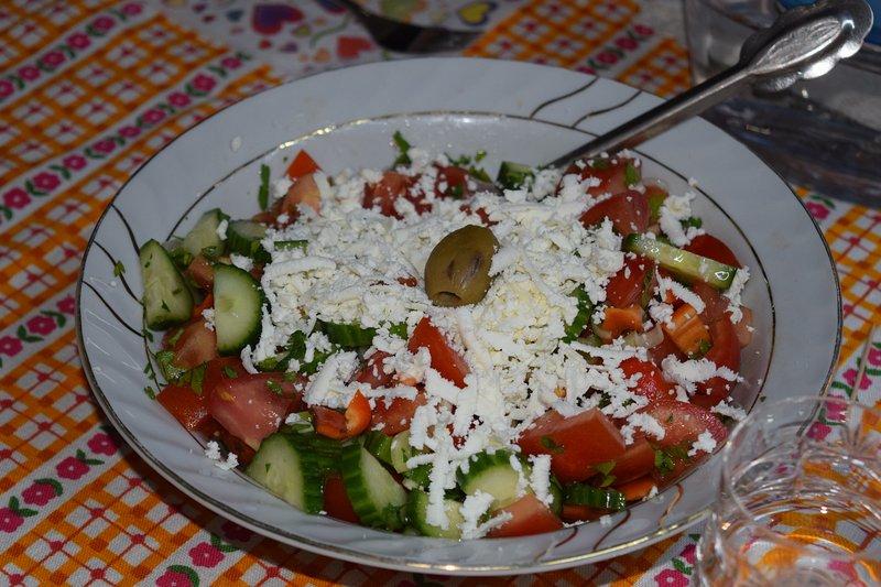 Shopska salad - traditional fresh vegetables salad