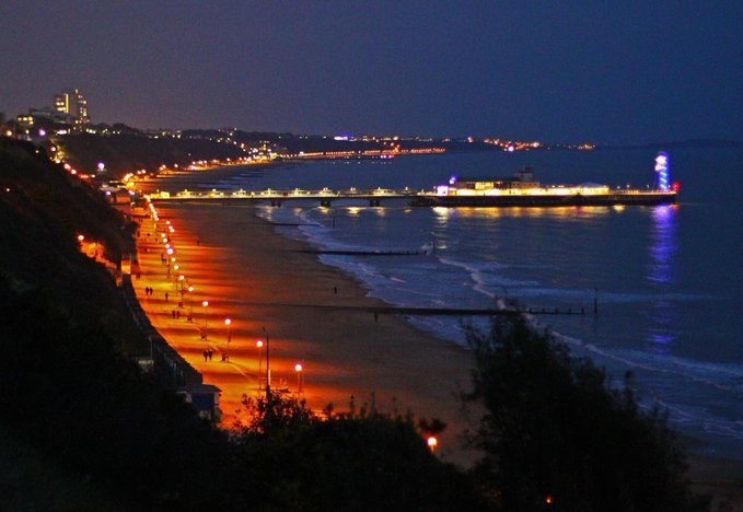 Bournemouth pier and beach.