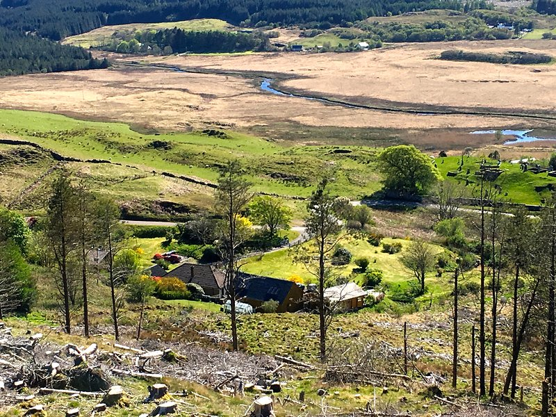 Looking down onto Cill-Mhoire Lodges