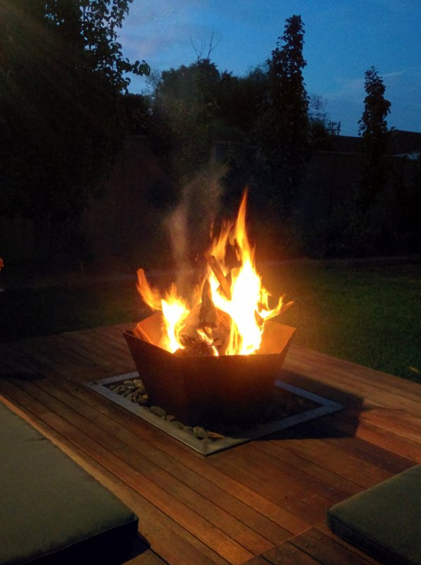 The fire pit is perfect for cooler evenings