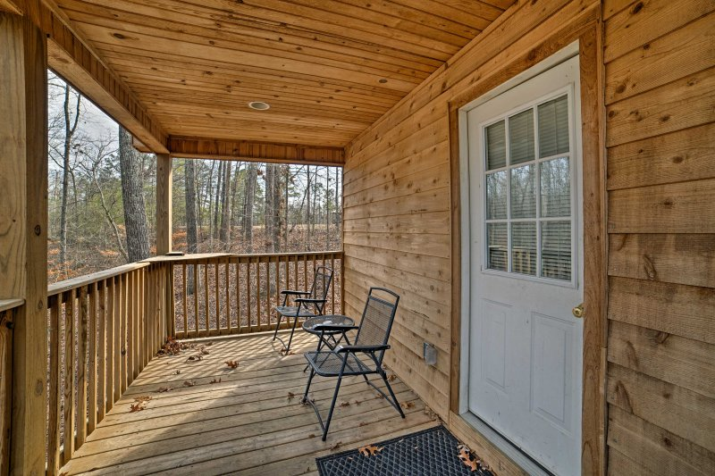 A private back deck offers serene views.