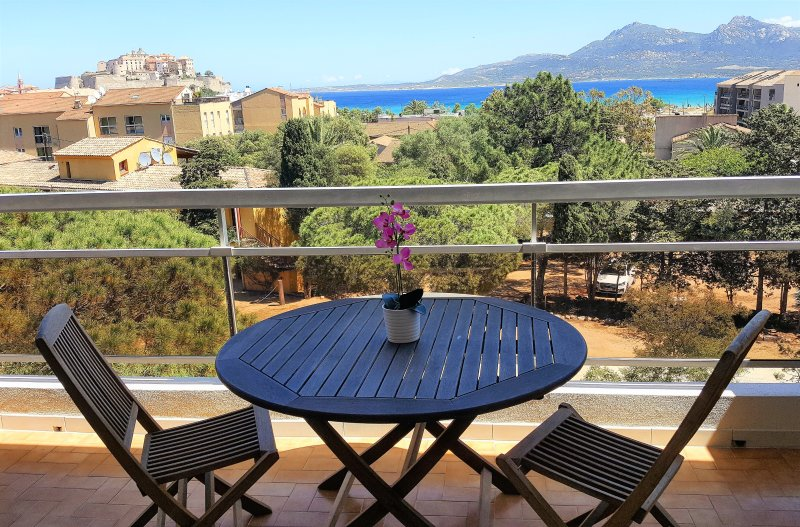 equipped terrace overlooking the Gulf of Calvi
