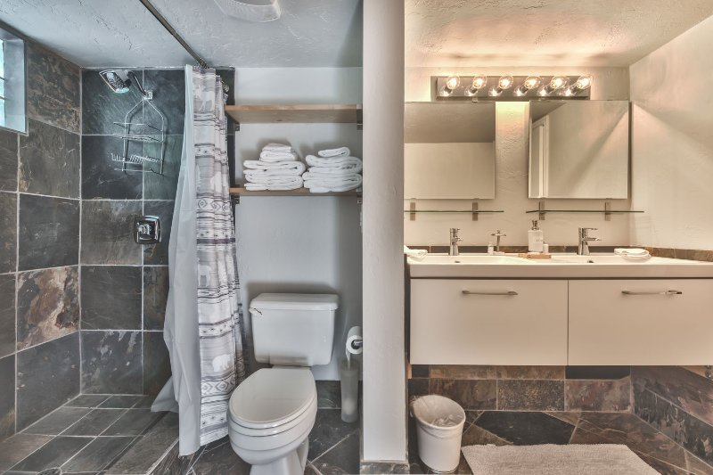 Full Bath - 1st Level - with Dual Sinks and Tile Shower